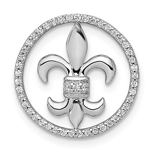 (14k White Gold 1/6-Carat Diamond Fleur De Lis Chain Slide Pendant from Roy Rose)