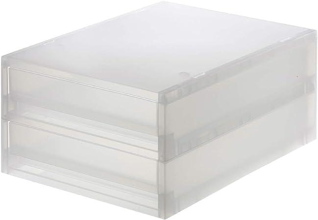 Muji Estuche De Almacenamiento Extra Bajo De 2 Cajones De Polipropileno, 26 cm Ancho x 37 cm Profundidad x 16,5 cm Altura, Semitransparente: Amazon.es: Hogar