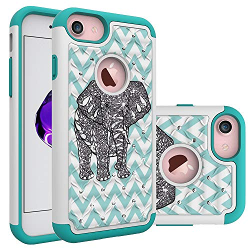 - iPhone 7 Case, iPhone 8 Bling Case, Unique Cute Elephant Pattern Heavy Duty Shockproof Studded Rhinestone Crystal Bling Hybrid Case Silicone Protective Armor for Apple iPhone 7 iPhone 8