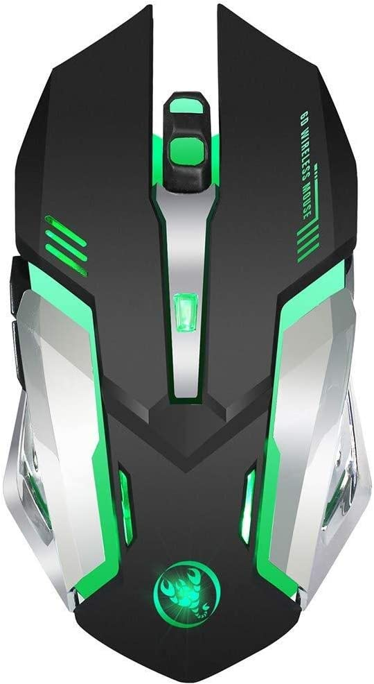 Wang5995 Office Home Mouse Wireless Gaming Mouse Rechargeable 2.4G 10 Meters Transmission Distance Colorful Light 2400dpi