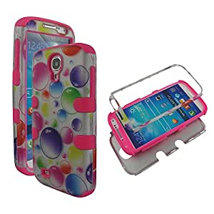 Hybrid Pinkstrip Colorful Dots For Samsung Galaxy S 4 , IV i9500 Sprint ,Verizon, at&t Box 3 in 1 High Impact Shock Defender Plastic Outside with Soft Silicon Snap On Tuff Combo Rugged Body Armor Defender Triple Layer Shockproof Case Cover (Pinkstrip Colorful Dots)