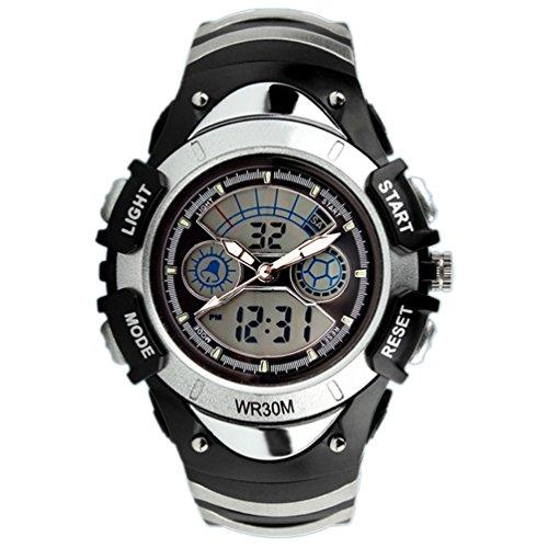 - VIGOROSO Kids Child Boy Girl Multifunction Waterproof Sports Analogue Digital Wrist Watch(Silver)