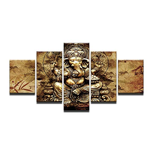 kkxdpq 5 Pieces Painting India Elephant God Ganapati Lord Ganesha Modular Wallpaper HD Print On Canvas Wall Art Waterproof Home Decor Picture A,Frameless