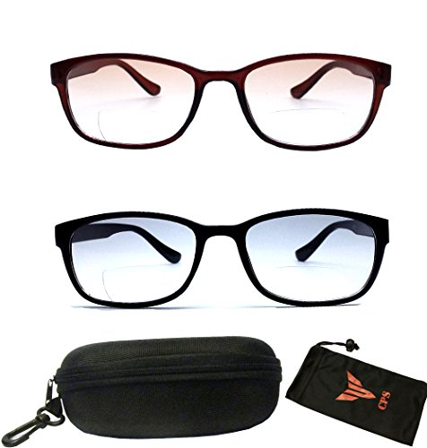 2 Pairs! Squared Rectangular Shape Sun Reader Light Tinted Lenses Men Women & Unisex Reading Glasses & Sunglasses +2.50 ( Bifocal Glasses - Glasses Bifocal Reading Tinted