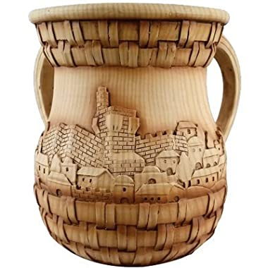 A&M Judaica 50786 Polyresin Washing Cup in Wood - Like Jerusalem, 6 in.