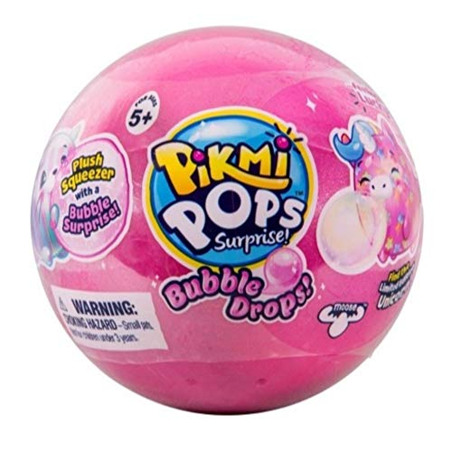 New Pikmi Pops Surprise Bubble Drops Mystery Blind Pack Ball - Pink - Collectible Squeezy Plush Toys That Blows a Fun, Glitter Bubble Surprise When Squeezed.