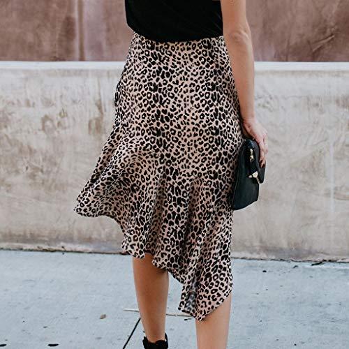 Lavany  Women's Ruffles Skirts Sexy Leopard Print Zipper Knee Length Skirt for Girl Brown by Lavany  (Image #3)