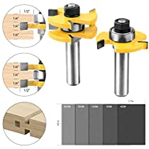 NOUVCOO 2Pcs Tongue and Groove Set,1/2 Inch Shank T Shape Wood Milling Saw Cutter Woodworking Tool with 5Pcs Abrasive Papers NC11
