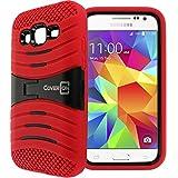 Samsung Galaxy Core Prime / Prevail LTE Case, CoverON® [Titan Armor Series] Dual Layer Silicone + Tough Cover Stand Phone Case For Samsung Galaxy Core Prime / Prevail LTE - Red & Black