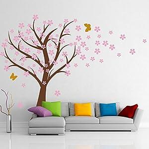 Amazoncom GECKOO Cherry Blossom Tree Wall Decal Flora Vinyl