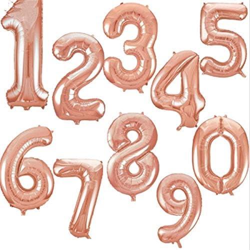 NancyMissY ローズゴールドアルミニウム番号風船エアバルーンハッピーバースデーウェディングデコレーションバルーンイベントパーティー用品