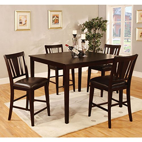 Bridgette Espresso Finish 5-Piece Counter Height Dining Set