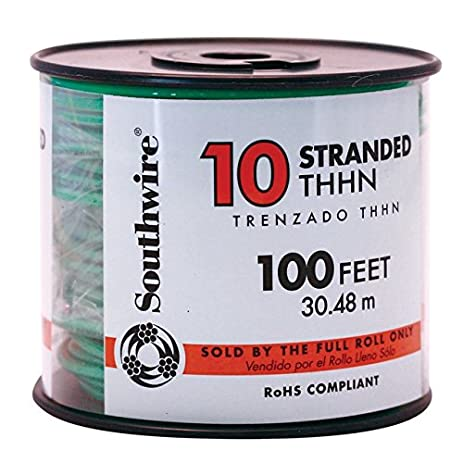 Amazon southwire company 100 ft stranded building wire with stranded building wire with thhn wire type and 10 awg wire greentooth Images