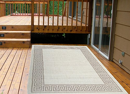 Rug Natural Patio (Ottomanson Jardin Collection Natural Greek Bordered Design Indoor/Outdoor Jute Backing Area Rv Patio Mat Rug,)