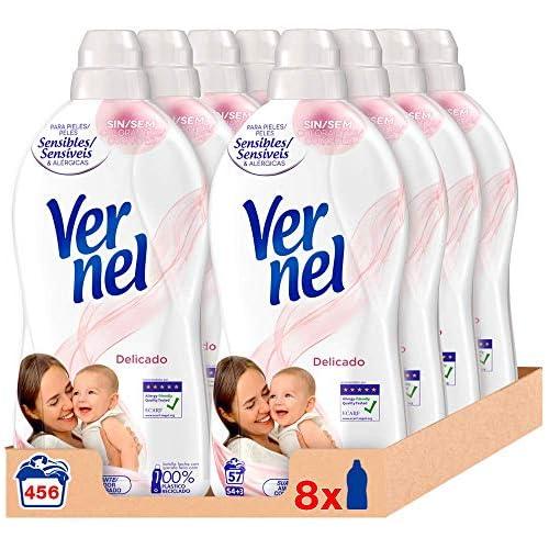 chollos oferta descuentos barato Vernel Suavizante Concentrado para la Ropa Delicado Pack de 8x57D Total 456 Lavados 10 4 L