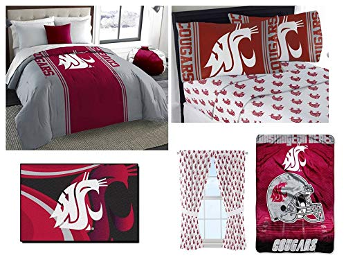 Northwest NCAA Washington State Cougars Ultimate 9pc Ensemble: Includes Twin/Full Comforter, 1 Full Flat Sheet, 1 Full Fitted Sheet, 2 Pillowcases, 1 Rug, 1 Blanket, and 2 Curtain Panels
