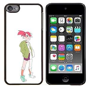 Planetar® ( Muchacha deportiva rosa de la moda del pelo Dibujo del estilo del arte ) Apple iPod Touch 6 6th Touch6 Fundas Cover Cubre Hard Case Cover