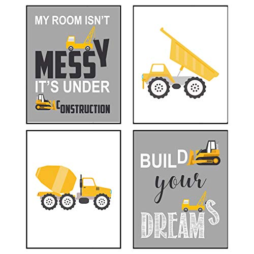 Construction Truck Themed Art Print Room Wall Decoration (Set or - Dump Truck Wall