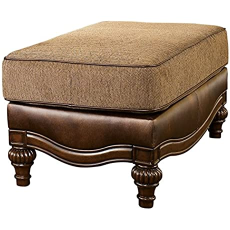 Ashley Furniture Signature Design Claremore Ottoman Traditional Footrest Antique Brown