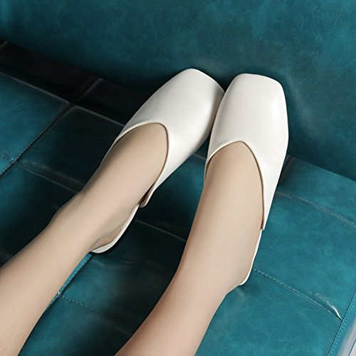 Toe No Easemax Heel Clipping Flat Simple Closure Sandals Square White Slippers Womens qfAw7xAt