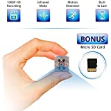 PJTech Mini Spy Camera 1080P HD Tiny Portable Hidden Camera with Night Vision and Motion Detection for Wireless Home Security or Nanny Cam, Not Wifi (Bonus 8GB Micro SD Card)