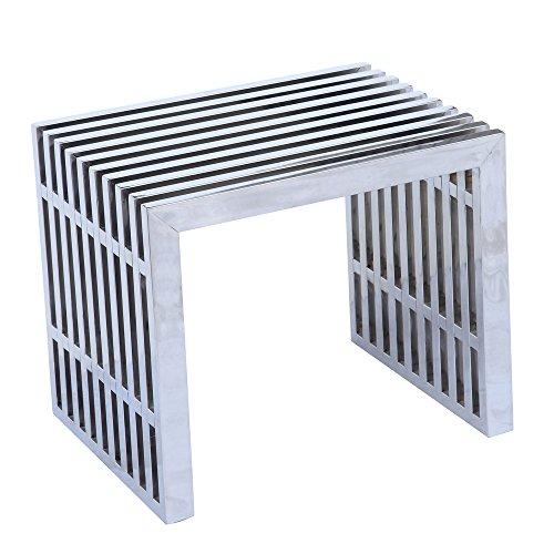 Fine Mod FMI9277-SILVER Zeta Stainless Steel Bench Short, Silver