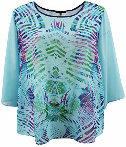 Women's Plus Size Flowy Chiffon Multi Print Fashion Blouse Tee Shirt Knit Top Aqua 1X G170.24L-20 ()
