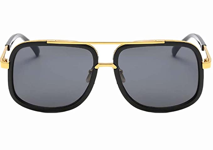 Amazon.com: Men Luxury Sunglasses Gold Frame Black Lens ...