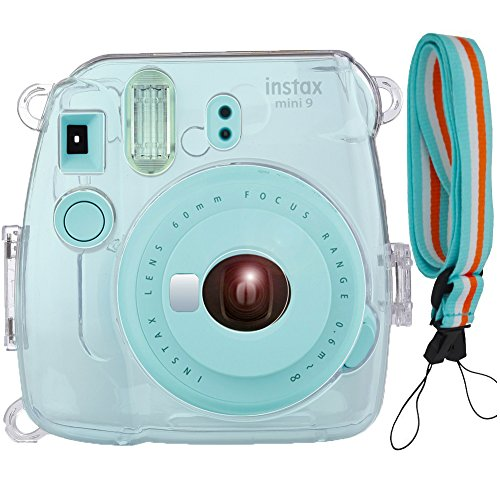 Case Cover for Fujifilm Instax Mini 9/8/8+ Instant Camera, Transparent PVC Crystal Protective Camera Case for Fujifilm Instax Mini 9/ 8/ 8s Instant Film Camera with Cute Adjustable Strap. By SAIKA