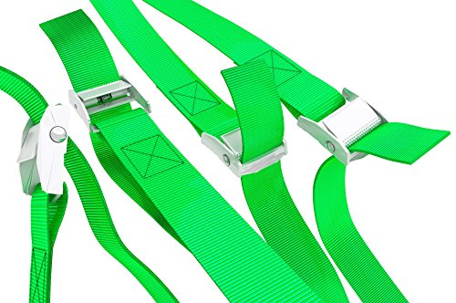 "Long Tie Down Lashing Cam Lock Buckle Securing Adjustable Cargo Straps For Roof Rack, Kayak, Canoe, 1""x13Foot Up To 600lbs, 4 Pack, Green by WowThings!"