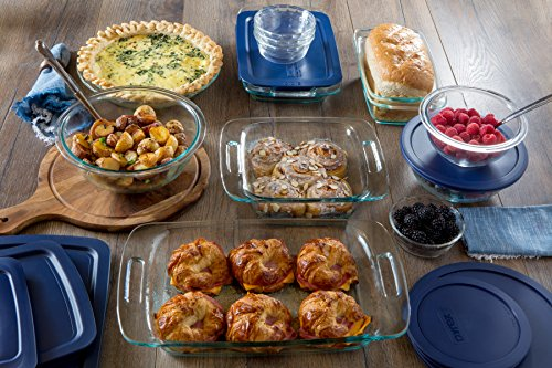 Pyrex Easy Grab 19-Piece Glass Bakeware Set with Blue Lids