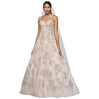 b1737bc284e David s Bridal Metallic Lace Applique A-Line Wedding Dress Style CWG767 at Amazon  Women s Clothing store