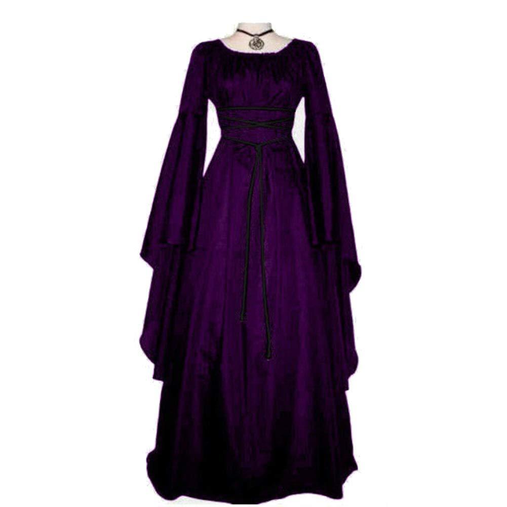 Alician Women Long Sleeve Round Collar Belt Irregular Ladies Dress Halloween Costume Black L Halloween Decoration