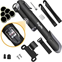 Bike Pump, [120 PSI][Perfect Full Set]Diyife Mini Bicycle Pump with Gauge, Ball Pump with Needle, Glueless Patch Kit, Cycle Valve Caps and Frame Mount for Road, Mountain & BMX Fits Presta & SchraderValve
