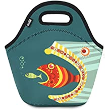 "Neoprene Lunch Bag Tote by QOGiR - Large 12"" x 12"" x 6.5"" inch(Fits Containers up to 8""Lx7""Hx6""W) - Keeping Food Cold (or Warm) Appr 4 Hours~Fish"