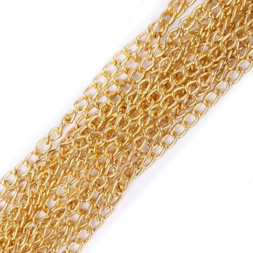 ILOVEDIY 5 Meters Plated Gold Open Link Cable Chains For Jewellery Making 3x2mm