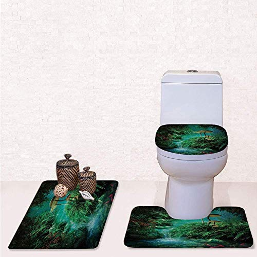 - 3 Pcs Soft Bathroom Rug Set Includes Bath Mat, Contour Rug ,Lid Cover,View of Fantasy River with a Pond Fish And Mushroom in Jungle Trees moss eden with Green Teal Red,decorate bathroom,entrance do