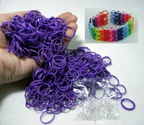 Bluedot Trading 600-Piece Do-It-Yourself Bracelet Kit Refill Pack, Includes Rubber Band and S-Clips for Loom Art/Kids Craft with Rainbow, Purple