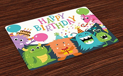 - Ambesonne Kids Birthday Place Mats Set of 4, Little Baby Monsters with the Party Cones Confetti Rain and Balloons Image, Washable Fabric Placemats for Dining Room Kitchen Table Decor, Multicolor