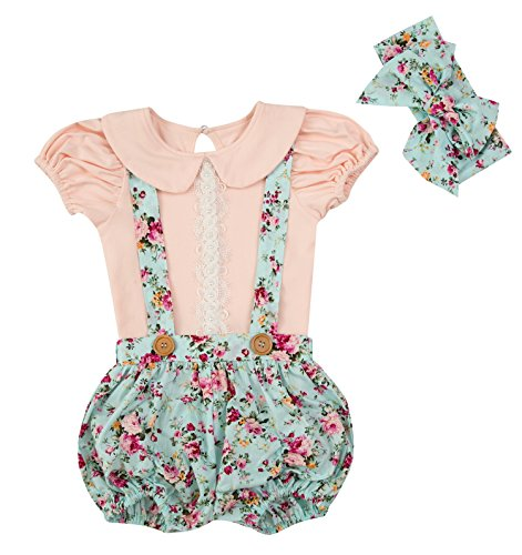 Messy Code Baby Girls Overalls Suspender Short Baby Clothes Cotton T-Shirt Floral Outfits Peach 6-12Months