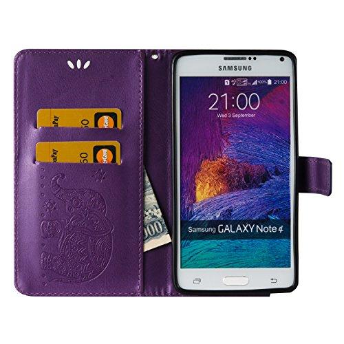 Ukayfe Flip funda de cuero PU para Samsung Galaxy Note 4, Leather Wallet Case Cover Skin Shell Carcasa Funda para Samsung Galaxy Note 4 con Pintado Patrón Diseño, Cubierta de la caja Funda protectora  Elefante-Púrpura