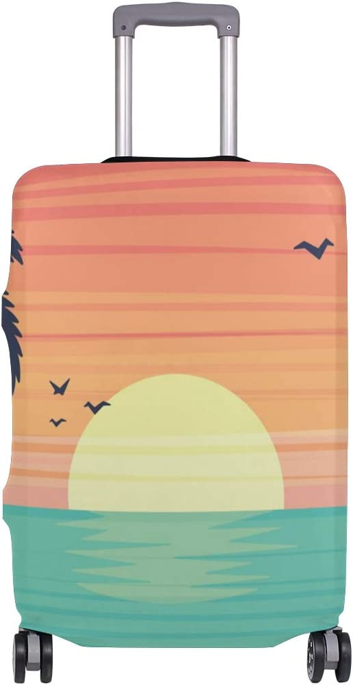 FOLPPLY Beach Sunset Sea Coconut Tree Luggage Cover Baggage Suitcase Travel Protector Fit for 18-32 Inch