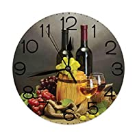GULTMEE Round Wall Clock Home Decorative, Winery, Cask Bottles and Glasses of Wine and Ripe Grapes on Wooden Table Picture Print, Diameter: 10.2 inch/Thickness 0.2 inch, Multicolor