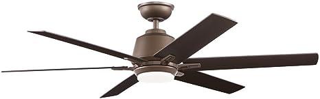 Amelia 42/'/' LED Indoor Bronze Downrod Ceiling Fan w// Light Kit w// Remote by HDC