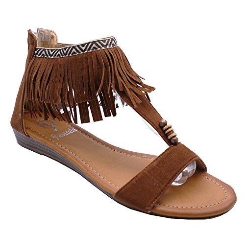 Ladies Flat Brown Gladiator T-Bar Fringe Zip-up Open-Toe Sandals Shoes Sizes 2-8 RtxIU6