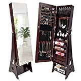 SUNCOM Jewelry Cabinet, Full Length Mirror Armoire Storage Organizer with Lockable Key, 6 LEDs, 4 Drawers, Wall Mounted/Door Hanging/Stranding