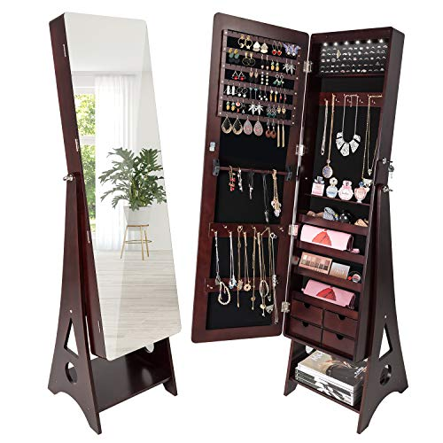 - Seekavan Jewelry Cabinet 6 LED Standing Mirrored Armoire Lockable Organizer 3 Angle Adjustable with 4 Drawers, Large Capacity