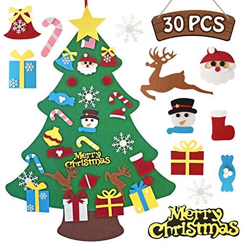 SUNKY 30 Pieces DIY Felt Christmas Tree Set, Xmas Gifts for Kids New Year Handmade Christmas Door Wall Hanging Decorations (Felt Handmade Christmas Gifts)
