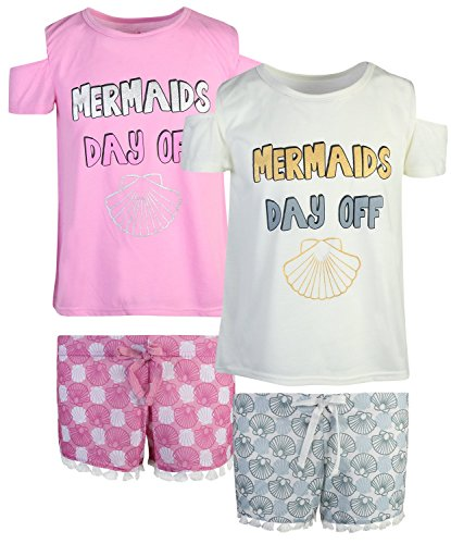 dELiAs 2-Pack Girls Pajama Sleepwear Short Set (2 Full Sets) (14/16, Mermaids Day ()