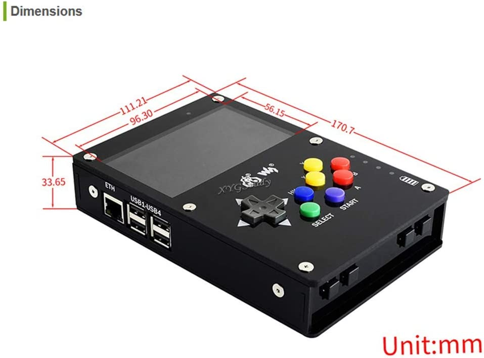 XYGStudy GamePi43 Add-ons Accessories for Raspberry Pi to Build GamePi43 Portable Retro Video Game Console 4.3 inch IPS Display Screen 800/×480 US Plug